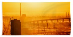 Beach Towel featuring the photograph Burning Sunset Through Smog by Ray Warren