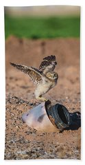 Burrowing Owlet Stretching His Wings Beach Sheet