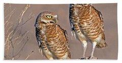 Burrowing Owls At Salton Sea Beach Towel
