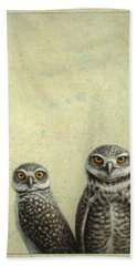 Beach Towel featuring the painting Burrowing Owls by James W Johnson