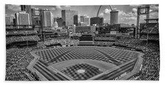 Busch Stadium St. Louis Cardinals Black White Ballpark Village Beach Towel by David Haskett
