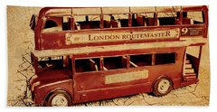 Buses Of Vintage England Beach Towel
