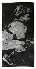Buster Posey San Francisco Giants Art Beach Towel by Joe Hamilton