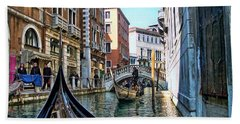 Beach Towel featuring the photograph Busy Canal by Roberta Byram
