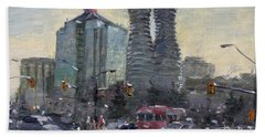Busy Morning In Downtown Mississauga Beach Towel