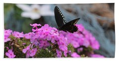 Butterfly -- Black On Pink Beach Towel