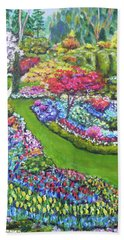 Beach Towel featuring the painting Butchart Gardens by Amelie Simmons