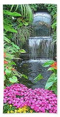 Beach Towel featuring the photograph Butchart Gardens Waterfall by Wendy McKennon