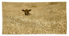 Buttercup In Sepia Beach Towel by JD Grimes