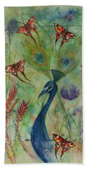 Butterflies And Peacock Beach Towel