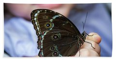 Beach Towel featuring the photograph Butterfly A Helping Hand by Ron White