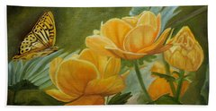 Butterfly Among Yellow Flowers Beach Towel
