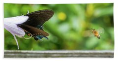 Butterfly And Bee Beach Towel