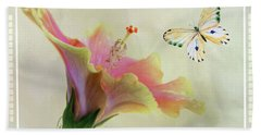 Butterfly And Fiesta Hibiscus Beach Towel