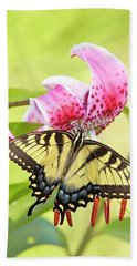 Butterfly And Lily Beach Towel