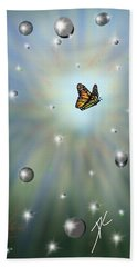 Beach Towel featuring the digital art Butterfly Bubbles by Darren Cannell