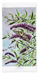 Beach Towel featuring the painting Butterfly Bush by Monique Faella