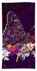 Beach Towel featuring the digital art Butterfly Flower Summer Forage  by PixBreak Art