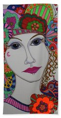 Beach Towel featuring the painting Butterfly Girl by Alison Caltrider