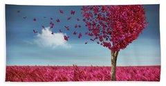 Butterfly Heart Tree Beach Towel