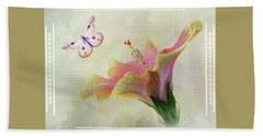 Butterfly Hibiscus Art II Beach Towel