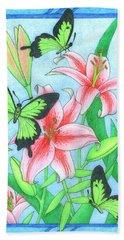 Butterfly Idyll- Lilies Beach Towel