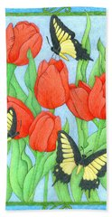 Butterfly Idyll-tulips Beach Towel