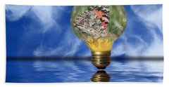 Beach Towel featuring the photograph Butterfly In Lightbulb - Landscape by Shane Bechler