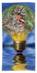 Beach Towel featuring the photograph Butterfly In Lightbulb by Shane Bechler