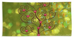Butterfly Of Heart Tree Beach Sheet by Kim Prowse
