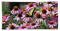 Butterfly On Coneflowers Beach Sheet