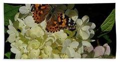 Butterfly On Hydrangea Beach Sheet