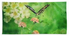 Butterfly On Lantana Montage Beach Towel by Toma Caul