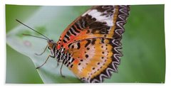 Butterfly On The Edge Of Leaf Beach Towel