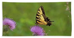Beach Towel featuring the photograph Butterfly On Thistle by Sandy Keeton