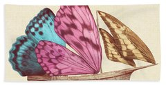 Butterfly Ship Beach Towel by Eric Fan