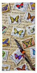 Butterfly Stamps And Old Document Beach Towel