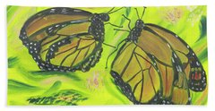 Beach Towel featuring the painting Butterfly Tango by Meryl Goudey