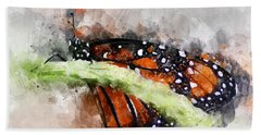 Butterfly Watercolor Beach Towel