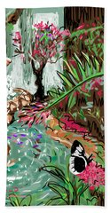 Beach Towel featuring the digital art Butterfly World by Jean Pacheco Ravinski
