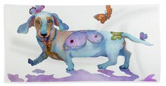 Butterfly Doxie Doo Beach Towel by Marcia Baldwin