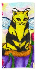 Beach Towel featuring the painting Buzz Bumble Bee Fairy Cat by Carrie Hawks