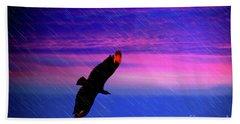 Beach Towel featuring the photograph Buzzard In The Rain by Al Bourassa