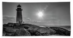 Bw Of Iconic Lighthouse At Peggys Cove  Beach Sheet by Ken Morris