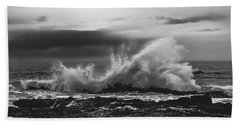 Bw Waves Crashing On Tsitsikamma South Africa With Clouds Beach Towel