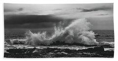 Bw Waves Crashing On Tsitsikamma South Africa With Clouds Beach Towel