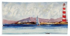 Beach Towel featuring the mixed media By The Lighthouse by Writermore Arts