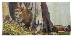 By The Stone Warrior Beach Towel