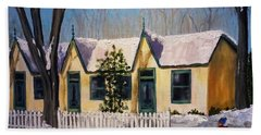 Cabbagetown Christmas Beach Towel by Diane Arlitt