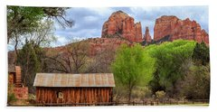Beach Towel featuring the photograph Cabin At Cathedral Rock by James Eddy